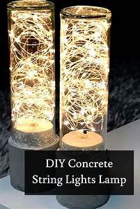 Diy String Lights Concrete Lamp