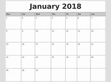 12 Month Calendar 2018 Word Printable Calendar 2018