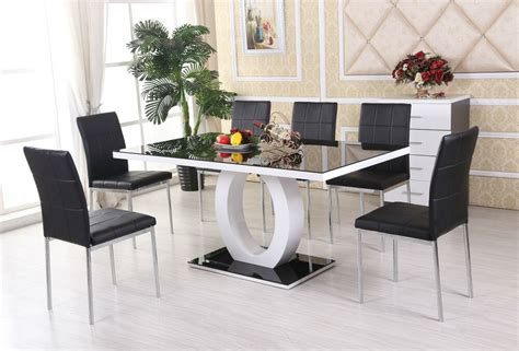 Black And White Dining Table Set by Giovani Black White High Gloss Glass Dining Table Set And