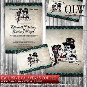 calaveras sugar skull wedding invitation and rsvp With free printable skull wedding invitations