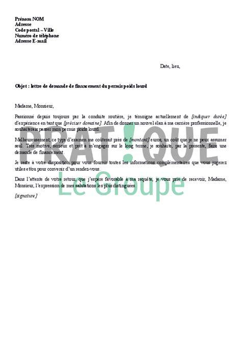 lettre de motivation pour aide de cuisine lettre de demande de financement du permis poids lourd
