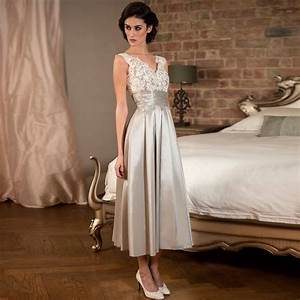elegant tea length silver lace satin bridesmaid dresses With cheap silver dresses for weddings