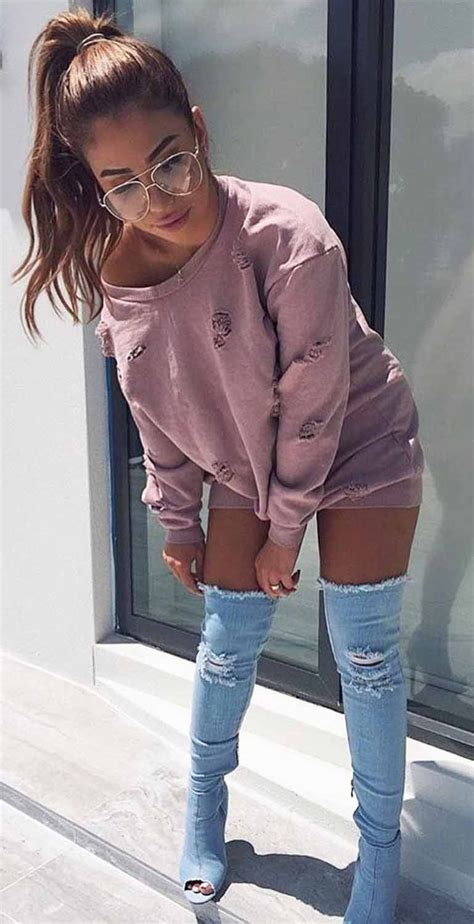 Cute Fall Outfit Ideas for Women 2017 Stlye Light Denim Thigh High Boots - Oversized Pink Mauve ...