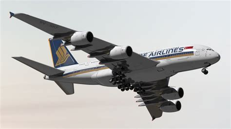 Airbus A380 800 Singapore Airlines 3d Model Cgstudio