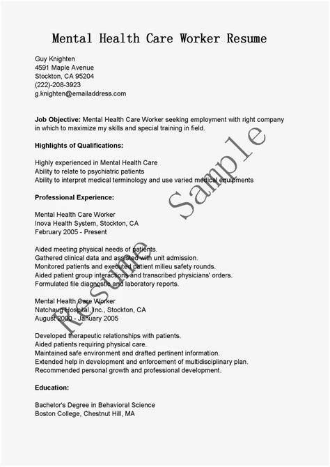 resume sles mental health care worker resume sle