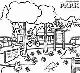 Park Coloring Pages Clipart Drawing Sheet Nature Colorings sketch template