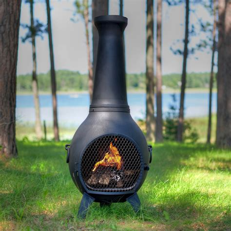 chiminea pit lit your outdoor space nuance with chiminea fire pit for stylish warmer homesfeed