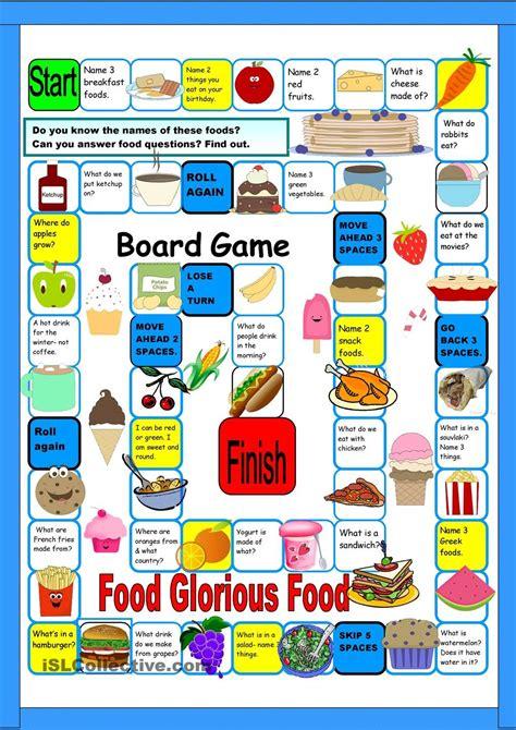 board gamefood  esl worksheets repinned