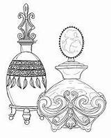 Perfume Bottle Coloring Tattoo Outline Pages Bottles Colouring Adult Sketch Drawing Printable Journal Adults Outlines Blank Line Pattern Purfume Illustration sketch template