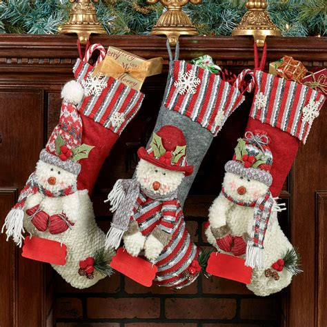 Cheerful Snowmen Christmas Stocking Set