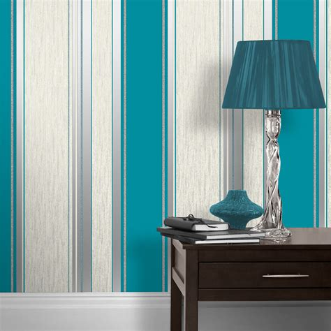 Striped Wallpaper Living Room Ideas by Vymura Synergy Glitter Stripe Wallpaper Teal And Silver