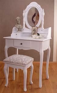 Shabby Chic Weiß : vintage schminktisch mit hocker weiss shabby chic toilettentisch ebay ~ Frokenaadalensverden.com Haus und Dekorationen