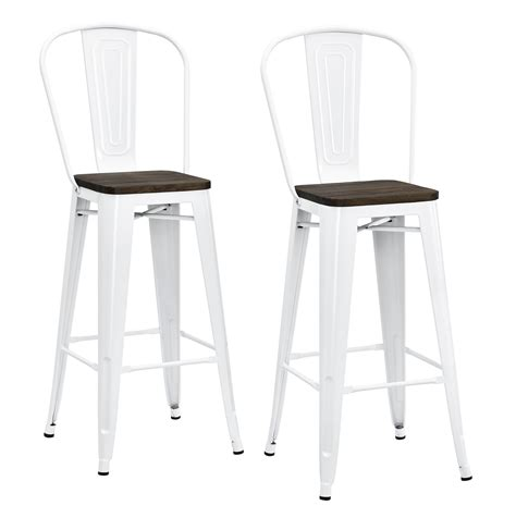 dorel luxor white 30 quot metal bar stool with wood seat set of 2