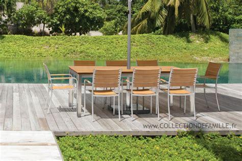 salon de jardin metal colore 7 mobilier jardin inox teck table de jardin en inox et teck