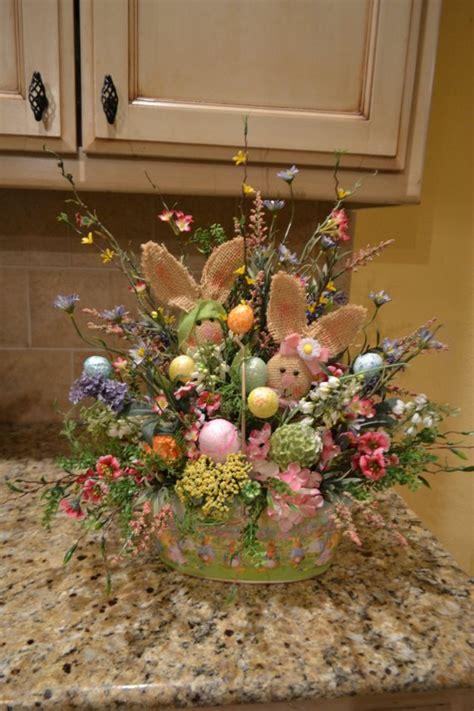 craft decoration ideas metal easter basket with burlap bunnies 1477
