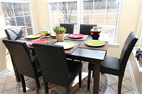 7 pc black leather 6 person table and chairs brown dining