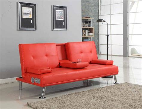 drinks tables and sofa bluetooth cinema sofa bed with drink cup holder table faux