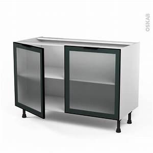 meuble de cuisine bas vitre facade noire alu 2 portes l120 With meuble bas cuisine 120 cm 15 cuisine nebraska