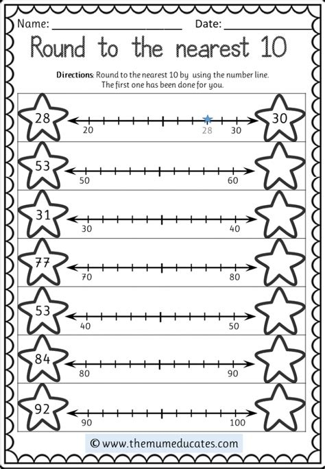 rounding numbers  worksheets rules  posters