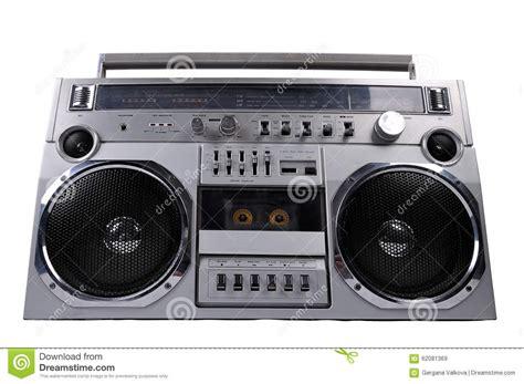 Rd Ijo Bpom 1980s silver retro radio boom box isolated on white