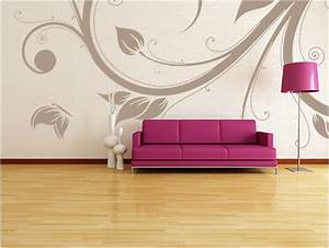 Fabulously stunning flower wall stencil ideas for painting for Living room wall stencils