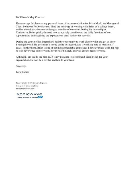 letter  recommendation brian mock
