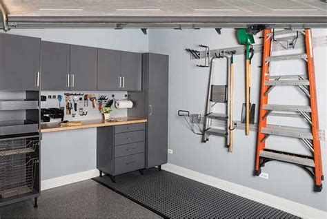 custom garage cabinetry tool bench  wall storage system