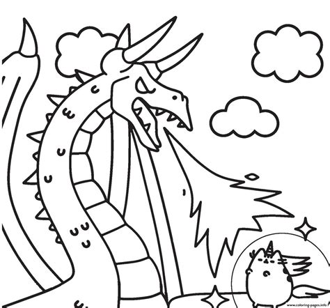 pusheen  dragon coloring pages printable