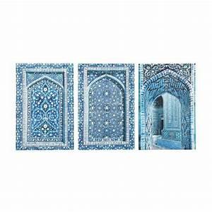 Tableau Porte Orientale : 3 toiles bleues 53 x 80 cm gab s maisons du monde ~ Teatrodelosmanantiales.com Idées de Décoration