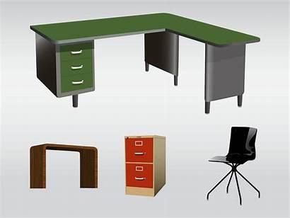 Office Furniture Vector Clipart Clip Desk Illustrations