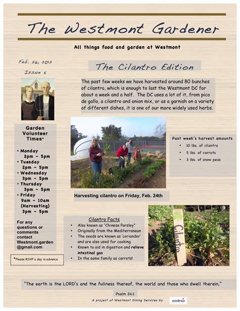 garden newsletter the westmont gardener newsletters westmont dining commons sustainability