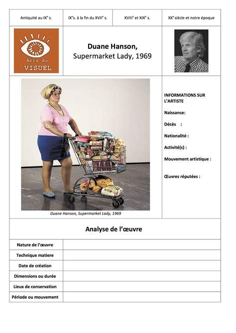 histoire des arts duane hanson supermarket lady