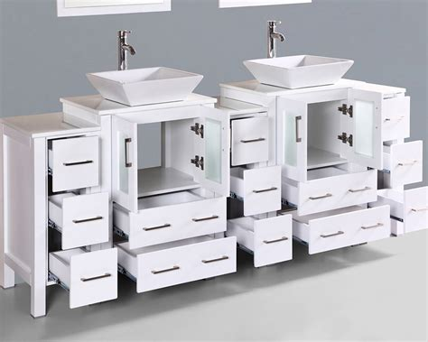 square vessel sink vanity white 84in square vessel sink double vanity by bosconi