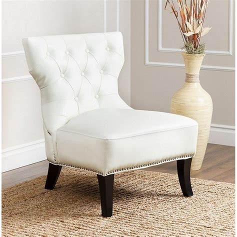 Abbyson Napal Tufted Leather Accent Chair In Ivory Hs