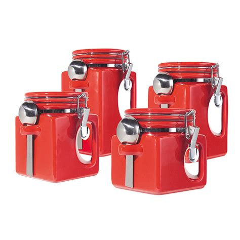 ceramic canisters sets for the kitchen oggi ez grip 4 set ceramic airtight canister jar