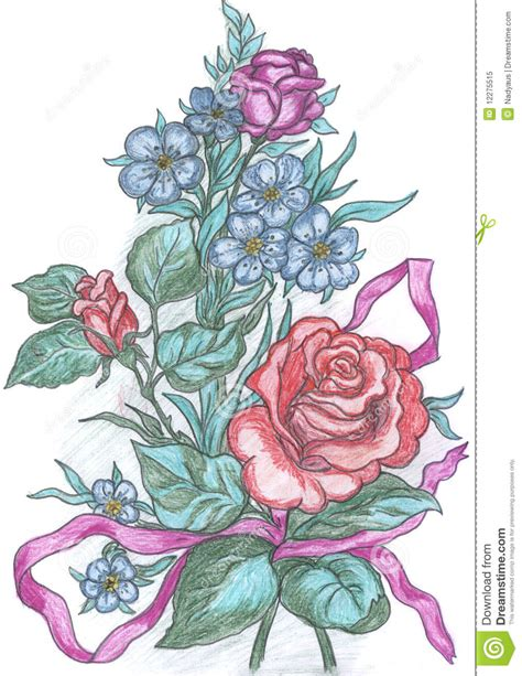 flowers sketch drawing  greeting card stock