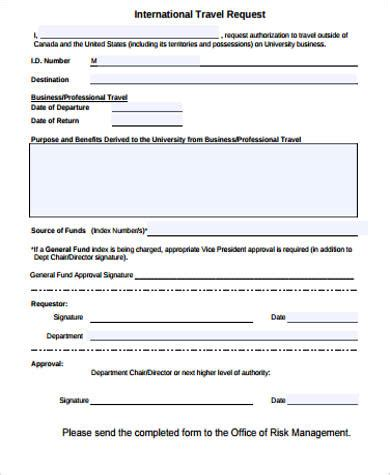 22081 travel request form new travel request form sle travel request form