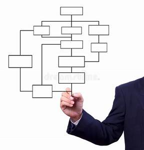 Hand Drawing Flow Chart Isolated Stock Photo