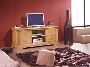 Meuble Tv Rustique : meuble tv rustique en chene massif 4 tiroirs 1 niche avec tag re meubles bois massif ~ Teatrodelosmanantiales.com Idées de Décoration