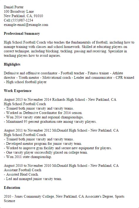 Football Coach Resume by High School Resume Danetteforda