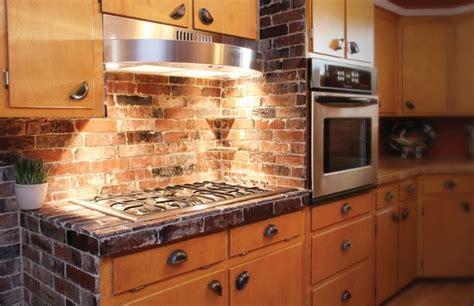 exposed brick kitchen backsplash vintage brick veneer counter backsplash and cabinet 7104