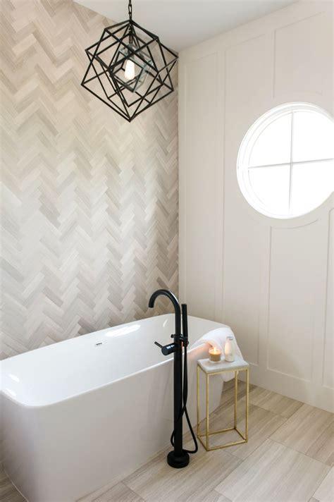 master bath sanctuary  herringbone marble tile accent
