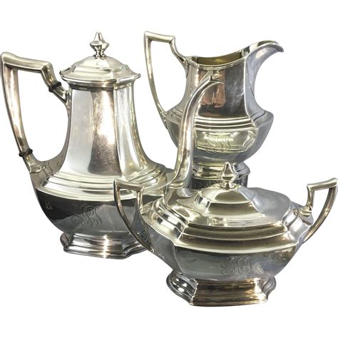 cofee set wallace sterling silver 3 tea coffee set service