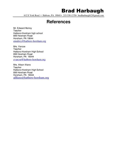 Reference Page For Resume by Resume References Sle Hatboro 0411 Docx6 Best