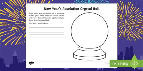 New Year Resolution Crystal Ball Ks1 Worksheet  Activity Sheet