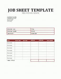 A Job Sheet Template Is A Form Of Document That Contains The Information Related To The Job In A