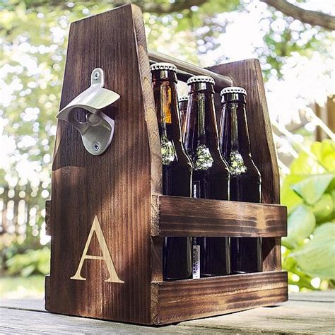 personalized rustic wood  pack craft beer bottle carrier