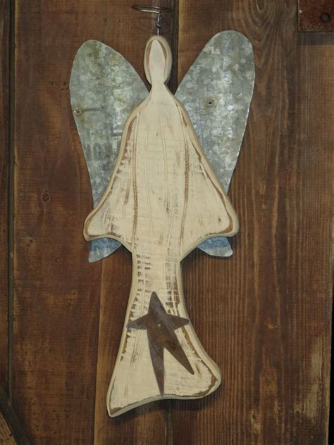 Primitive Wooden Angel With Rusty Tin Wings Use Her