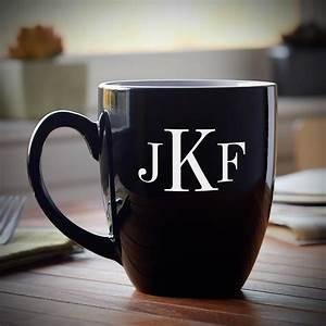 Classic, Monogram, Personalized, Coffee, Mug, Black
