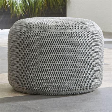 grey outdoor pouf reviews crate  barrel